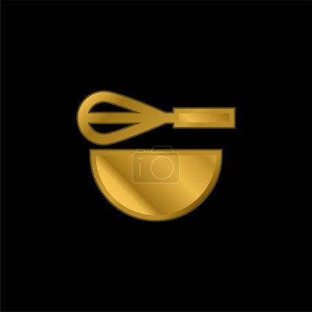 Illustration pour Vecteur de logo ou icône métallique plaqué or Beater - image libre de droit