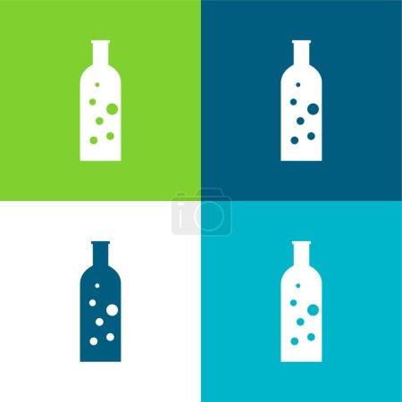 Illustration pour Bouteille avec bulles Ensemble d'icônes minime plat de quatre couleurs - image libre de droit
