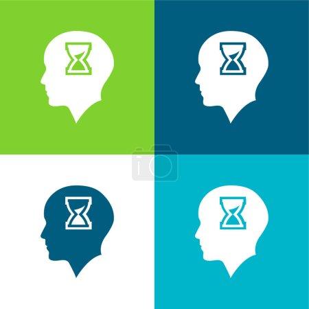 Łysa głowa ze szkłem Hour Inside płaski zestaw czterech kolorów minimalny zestaw ikon