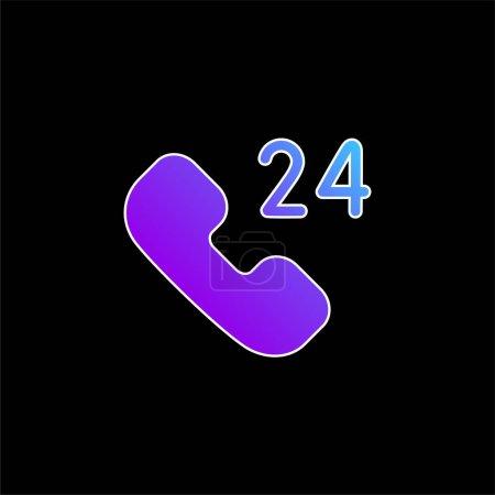 Illustration pour 24 Heures Support icône vectorielle dégradé bleu - image libre de droit