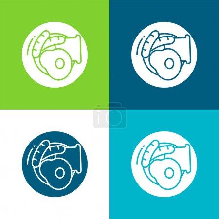 Illustration pour Petit déjeuner Ensemble d'icônes minimal plat quatre couleurs - image libre de droit