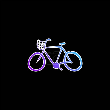 Illustration for Bike Hand Drawn Ecological Transport blue gradient vector icon - Royalty Free Image