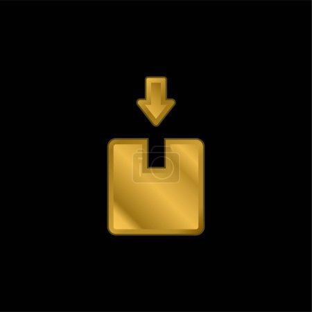 Photo pour Boîte plaqué or icône métallique ou logo vecteur - image libre de droit