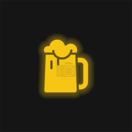Beer yellow glowing neon icon