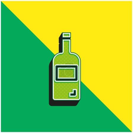 Illustration pour Bouteille Logo vectoriel 3d moderne vert et jaune - image libre de droit