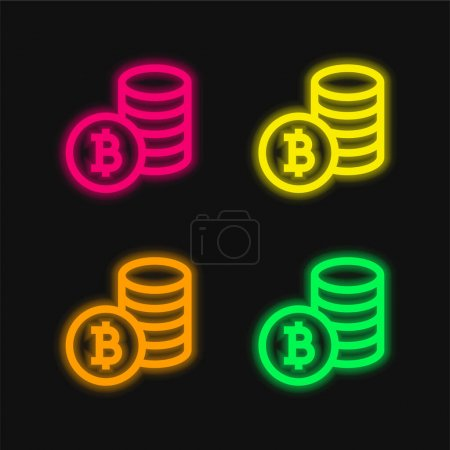 Bitcoin Symbol four color glowing neon vector icon