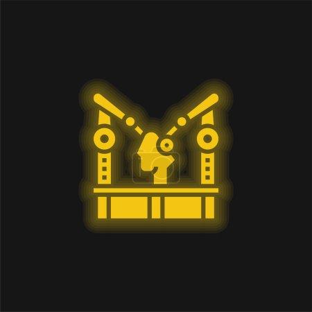 Illustration pour Machine d'assemblage jaune brillant icône néon - image libre de droit