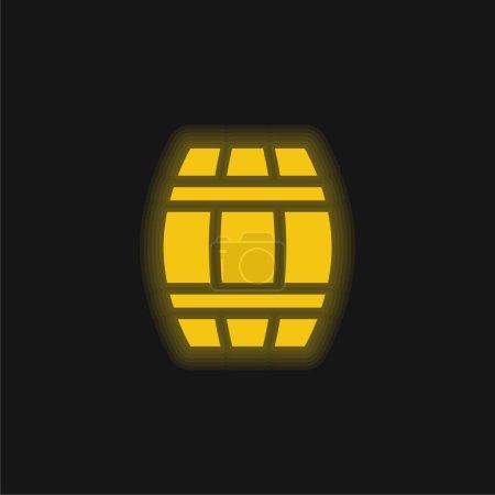 Illustration pour Baril jaune brillant icône néon - image libre de droit