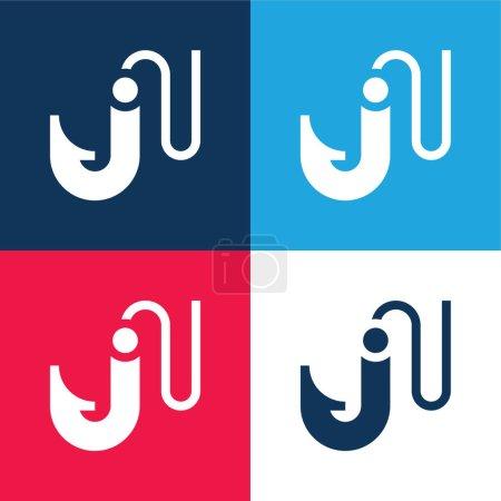 Illustration pour Appât bleu et rouge quatre couleurs minimum icône ensemble - image libre de droit