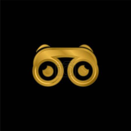 Illustration pour Jumelles avec des yeux plaqué or icône métallique ou logo vecteur - image libre de droit