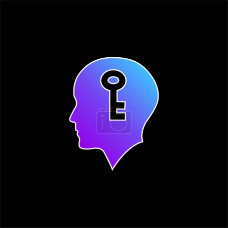 Illustration for Bald Head With A Key Inside blue gradient vector icon - Royalty Free Image