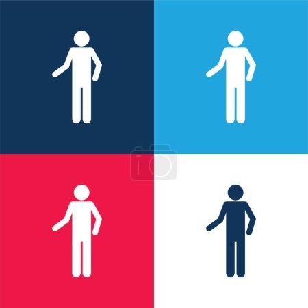 Illustration pour Silhouette basique bleu et rouge ensemble d'icônes minimes quatre couleurs - image libre de droit