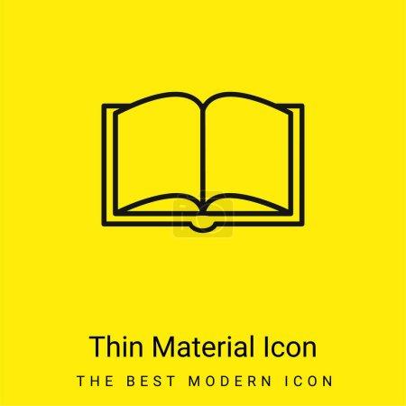 Photo pour Livre ouvert contour De En Haut Voir minime jaune vif icône matérielle - image libre de droit