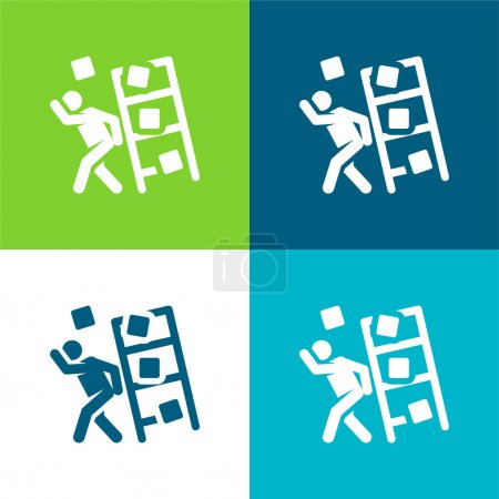 Illustration pour Accident Flat quatre couleurs minimum jeu d'icônes - image libre de droit