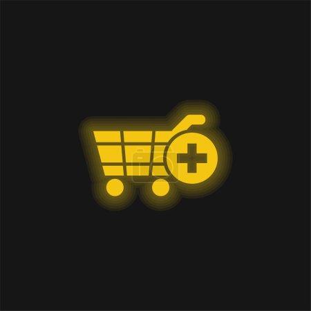 Illustration pour Ajouter au panier E Commerce Symbole jaune néon brillant icône - image libre de droit