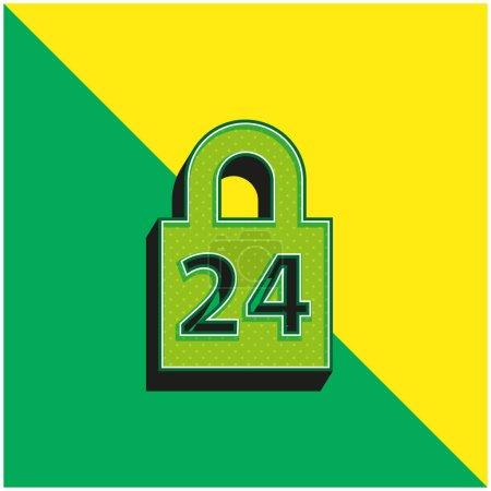Illustration pour Verrouillage 24 heures Logo vectoriel 3d moderne vert et jaune - image libre de droit