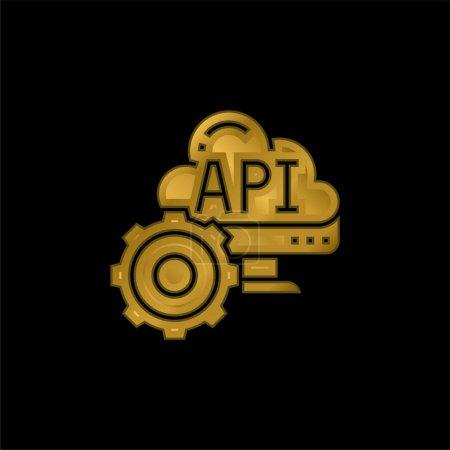 Illustration pour Icône métallique plaqué or Api ou vecteur de logo - image libre de droit