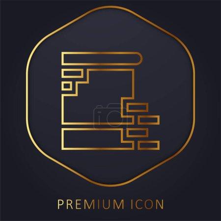 Goldene Linie Berliner Mauer Premium-Logo oder Symbol