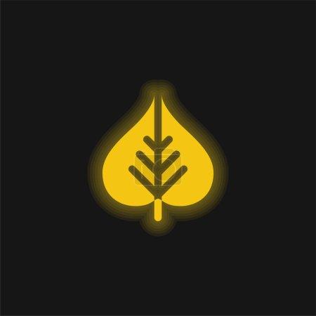 Bodhi Leaf yellow glowing neon icon