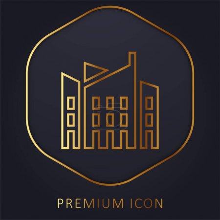 Photo pour Architecture ligne d'or logo premium ou icône - image libre de droit
