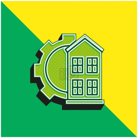 Illustration for Architectonic Green and yellow modern 3d vector icon logo - Royalty Free Image