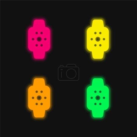 Foto de Apple Watch cuatro colores brillante icono de vectores de neón - Imagen libre de derechos