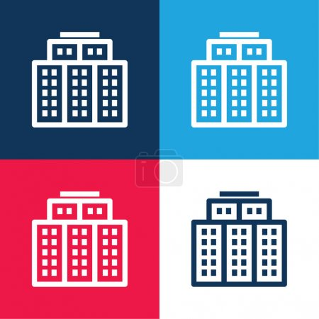 Illustration for Big Hotel blue and red four color minimal icon set - Royalty Free Image