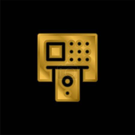 Illustration pour Icône métallique plaqué or ATM ou vecteur de logo - image libre de droit