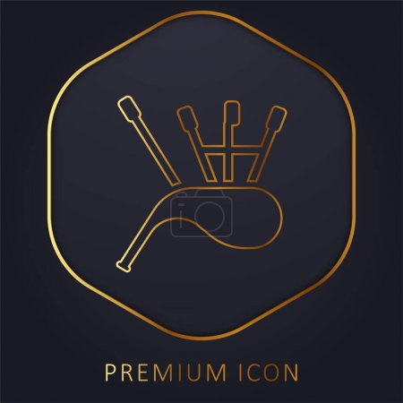 Illustration for Bagpipes golden line premium logo or icon - Royalty Free Image