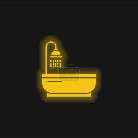 Illustration pour Bain jaune brillant icône néon - image libre de droit