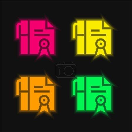 Illustration pour Adoption quatre couleur brillant icône vectorielle néon - image libre de droit