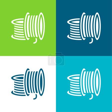 3d Printing Filament Flat four color minimal icon set