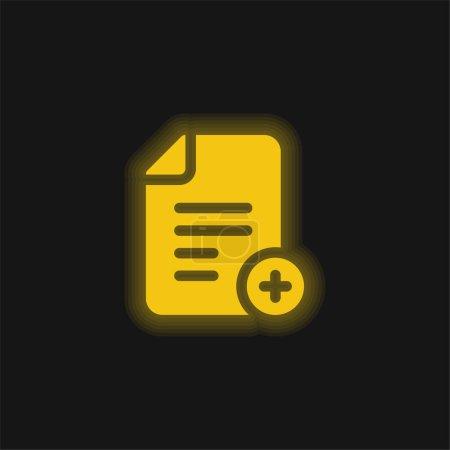 Illustration pour Ajouter Fichier jaune brillant icône néon - image libre de droit