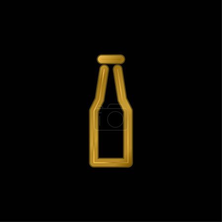 Bottle gold plated metalic icon or logo vector