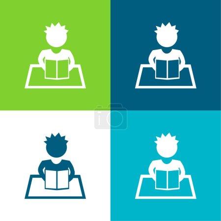 Illustration pour Garçon lecture plat quatre couleurs minimum icône ensemble - image libre de droit
