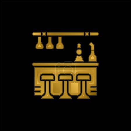 Illustration pour Bar Contre-plaqué or icône métallique ou logo vecteur - image libre de droit
