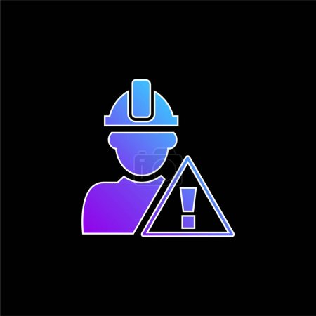 Illustration pour Signal d'attention et travailleur de la construction icône vectorielle gradient bleu - image libre de droit