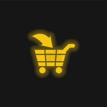 Illustration for Add To Cart E Commerce Interface Symbol yellow glowing neon icon - Royalty Free Image