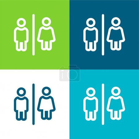 Illustration for Bathrooms For Men And Women Outlines Sign Flat four color minimal icon set - Royalty Free Image