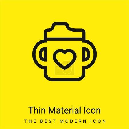 Bebé botella con un corazón mínimo icono de material amarillo brillante