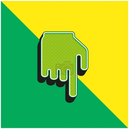 Black Hand With Finger Pointing Down Green and yellow modern 3d vector icon logo