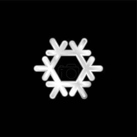 Illustration pour Climatisation argent plaqué icône métallique - image libre de droit
