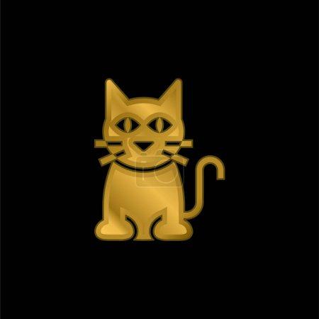 Photo pour Chat noir plaqué or icône métallique ou logo vecteur - image libre de droit