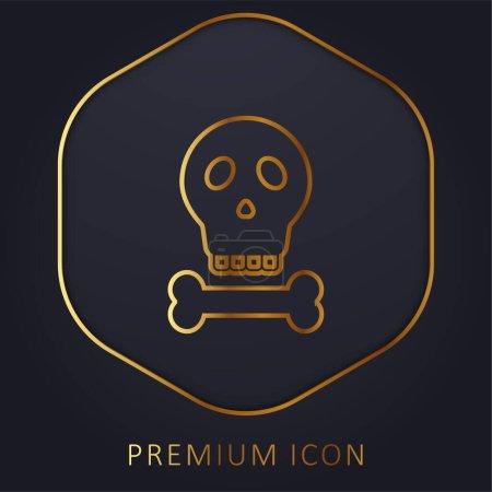 Illustration pour Os ligne d'or logo premium ou icône - image libre de droit