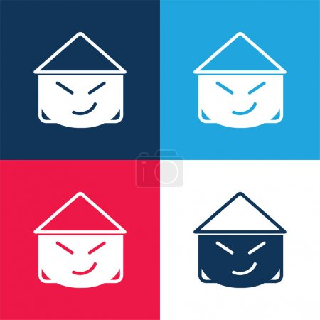 Asian blue and red four color minimal icon set