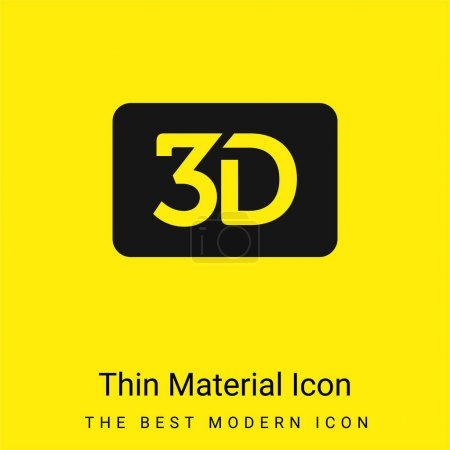 3d Movie Symbol For Interface minimal bright yellow material icon