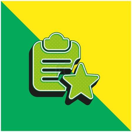 Illustration pour Signet Logo vectoriel 3d moderne vert et jaune - image libre de droit