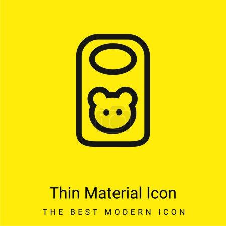 Photo pour Bavoir bébé avec tête d'animal Décrivez l'icône matérielle jaune vif minimale - image libre de droit