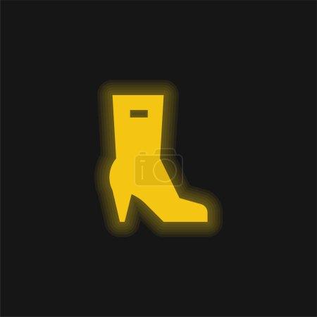 Illustration pour Bottes jaune brillant icône néon - image libre de droit