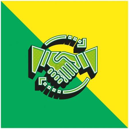 Illustration pour Accord Logo vectoriel 3d moderne vert et jaune - image libre de droit